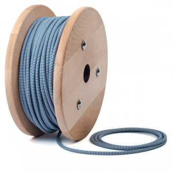 Синьо - бял зиг-заг кабелен шнур с текстилна оплетка