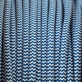 Blue-White zig zag round textile cable