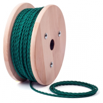 Petroleum green twisted textile cable