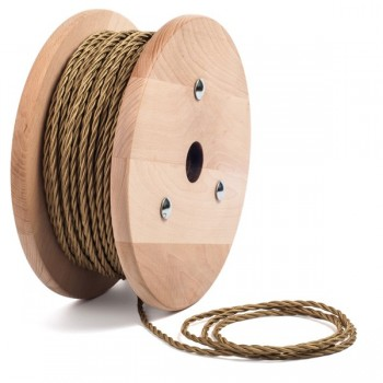 Satin brass twisted textile cable