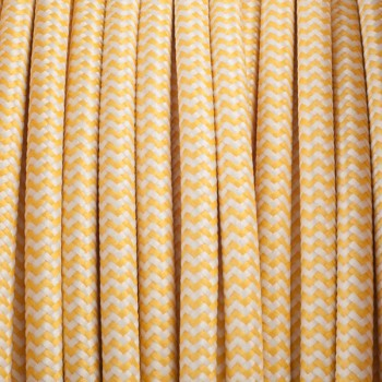 Yellow-white zig zag round textile cable