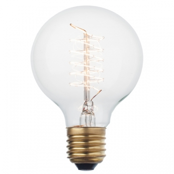 Vintage globe light bulb G80 • Spiral filament