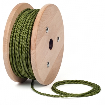 Кипарисово зелен тройно усукан кабелен шнур с текстилна оплетка