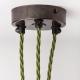 Античен бронз таванна розетка с множество кабелни изходи