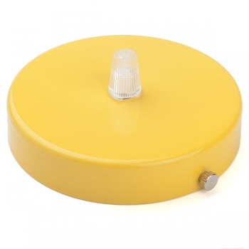 Ceiling rose with multiple cable outlet • Yellow