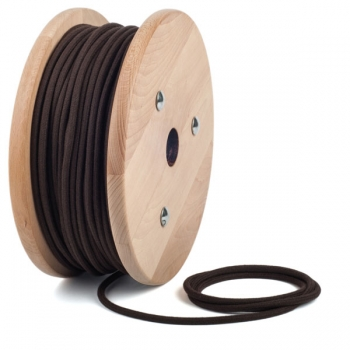 Dark brown cotton round textile cable