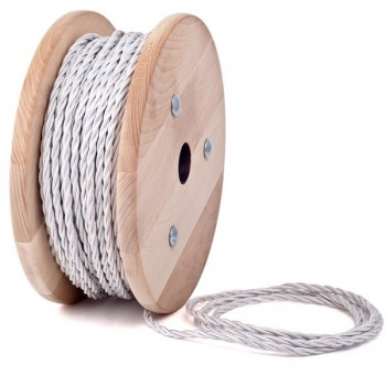White twisted textile cable
