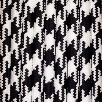 Houndstooth black - white round textile cable