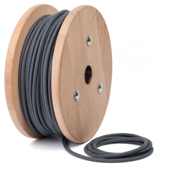 Graphite grey cotton round textile cable