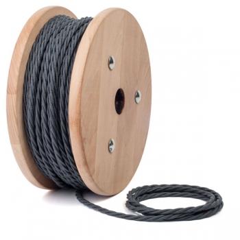 Графитено сив тройно усукан памучен текстилен кабел