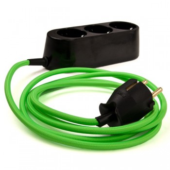 Oval Series - Extension socket with neon textile cable of your choice