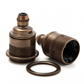 Threaded Lampholder E27 • Metal cord grip • Antique brass
