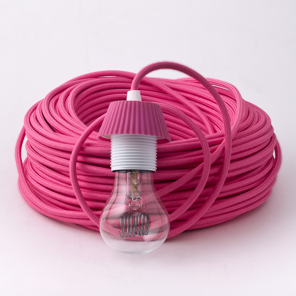 Fuchsia Pink Round Textile Cable cablelovers.com