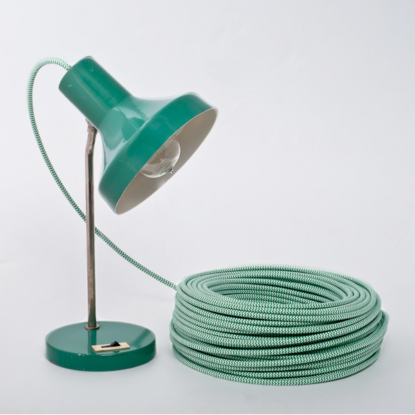 Green-White Zig-Zag Round Textile Cable cablelovers.com