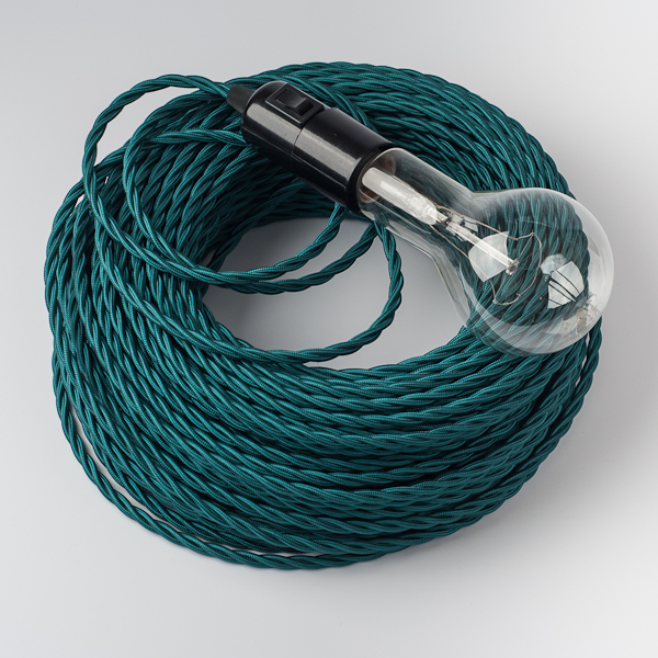 Petroleum Green Twisted Textile Cable - Cablelovers.com