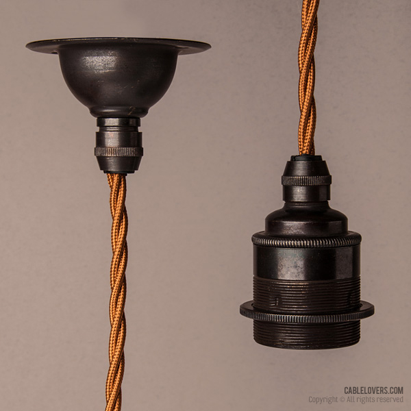 Antique bronze with cooper twisted textile cable