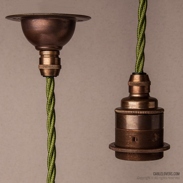 Antique brass with cypress green textile cable - Cablelovers.com