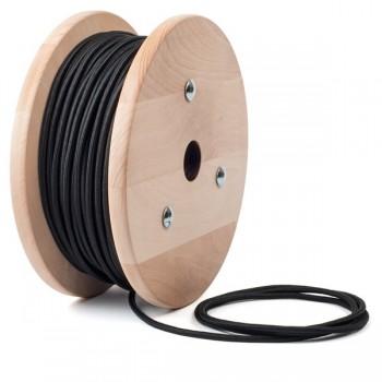 Black round textile cable