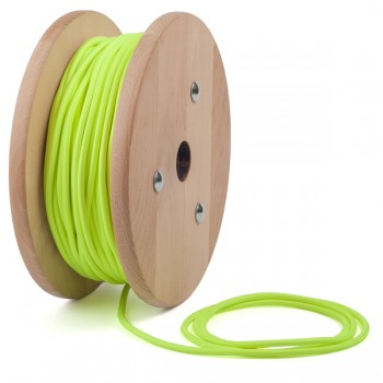 Yellow neon round textile cable