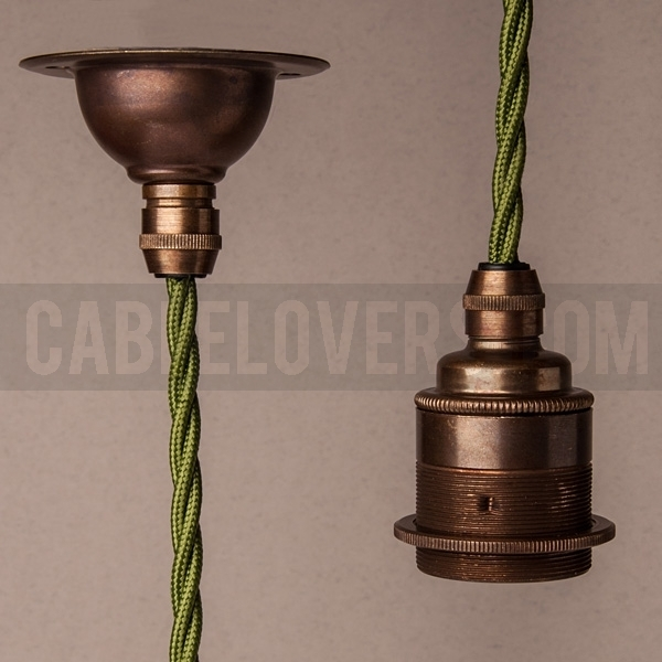 Deep Ceiling Rose With Metal Cord Grip Antique Brass