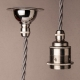 Deep ceiling rose with metal cord grip | Nickel plated