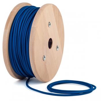 Blue round textile cable
