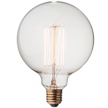 Big vintage globe light bulb G125 • Vertical filament • 40W