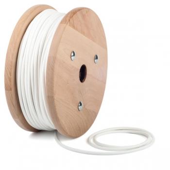 Бял кабелен шнур с текстилна оплетка