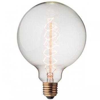 Big vintage globe light bulb G125 • Spiral filament • 40W