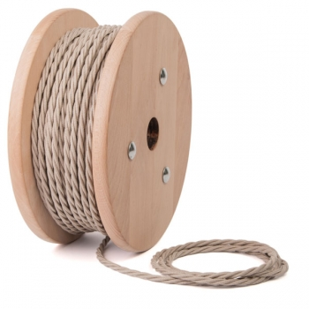Beige cotton twisted textile cable