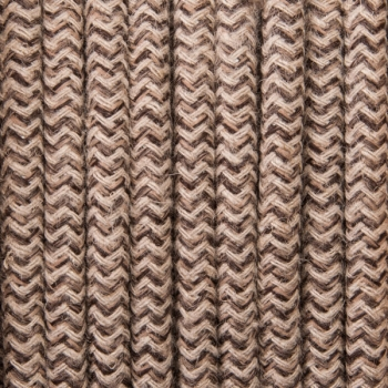 Beige brown zig-zag cotton round textile cable