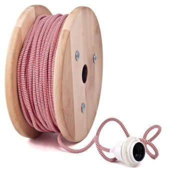 Red-White zig zag round textile cable