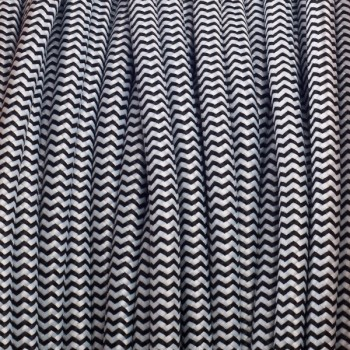 Black-White Zig Zag Round Textile Cable