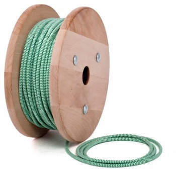 Green-White zig zag round textile cable